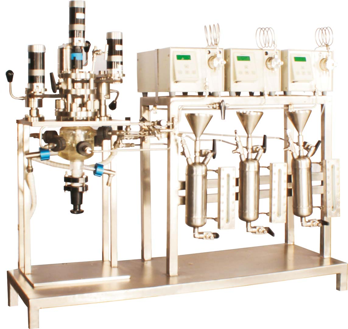 Phase transfer catalyst continuous reactor system with simultaneous 3 different impeller speeds at 3 different levels